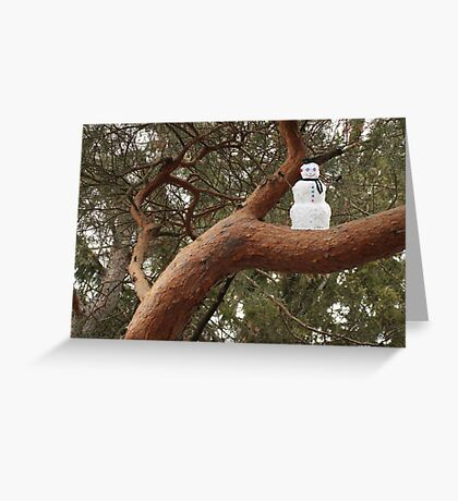 Snowman Climbed Tree Greeting Card