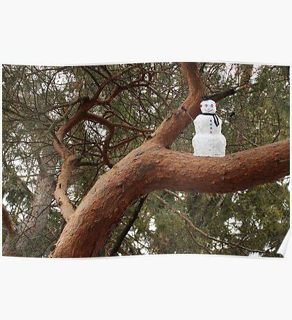 Snowman Climbed Tree Poster