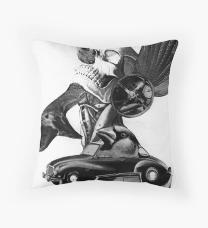 Rocking Horse Car Thief. Throw Pillow