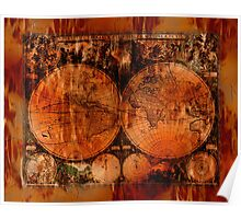 Grunge Vintage Old World Map Poster