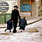A Family Walks Home - Safed, Israel by Mary Ellen Garcia