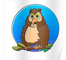 Owl Blue Moon Cartoon Poster