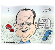 François Hollande auto dessin Poster