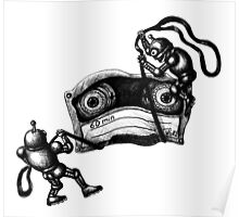 Robots Destroying the Cassette Tape pen ink drawing Poster