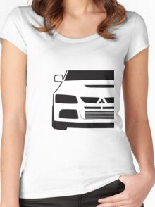 Mitsubishi Lancer Evo - Close Up Zoom Corner Sticker / Tee Design Women's Fitted Scoop T-Shirt