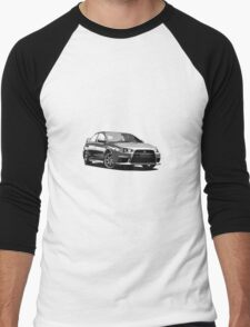 Mitsubishi Evolution X Sticker / Tee - Posterised/Greyscale design Men's Baseball ¾ T-Shirt