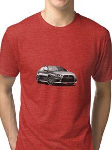 Mitsubishi Evolution X Sticker / Tee - Posterised/Greyscale design Tri-blend T-Shirt