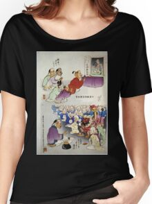 Humorous pictures showing Chinese religious practices  may include Raijin the Japanese God of Thunder seated in front in bottom cartoon 001 Women's Relaxed Fit T-Shirt