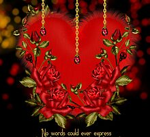 Valentine's Day Card With Heart And Roses by Moonlake