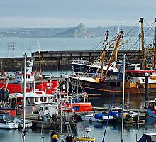 """ The jumble of craft at Newlyn harbour"" by Malcolm Chant"