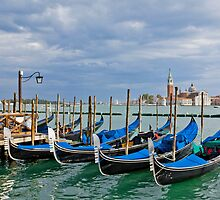 Gondolas near Piazza San Marco in Venice by kirilart