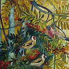 """Goldfinches in the sorb-tree """"sorbus aucuparia """" by elisabetta trevisan"""