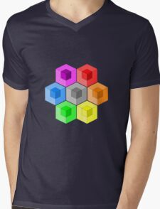 Cube Rainbow Mens V-Neck T-Shirt