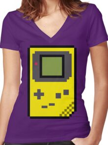 8 bit Gameboy Classic Yellow Women's Fitted V-Neck T-Shirt