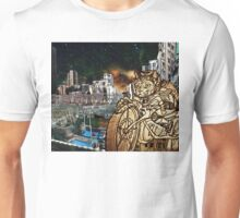 Berserk Steampunk Motorcycle Cat Riding in Moon City Unisex T-Shirt