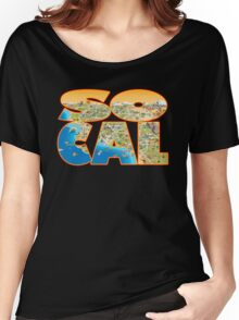 So Cal Cartoon Map Text Graphic Women's Relaxed Fit T-Shirt