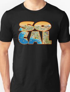 So Cal Cartoon Map Text Graphic T-Shirt