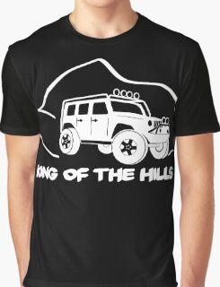 'King of the Hills' Jeep Wrangler 4x4 Sticker T-Shirt Design - White Graphic T-Shirt