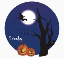 spooky witch on broom Halloween pumpkins  One Piece - Short Sleeve