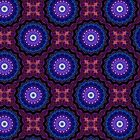 Mandala Fractile Blue n Purple by christopher r peters
