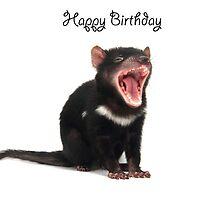 A Tasmanian Devil birthday card 3L by Gerry Pearce