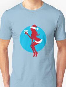 Santa Girl with Gift Unisex T-Shirt