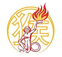 Fire Monkey Symbol Photographic Print