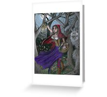 Little Red and the Big Bad Wolf Greeting Card