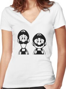 Mario & Luigi Women's Fitted V-Neck T-Shirt