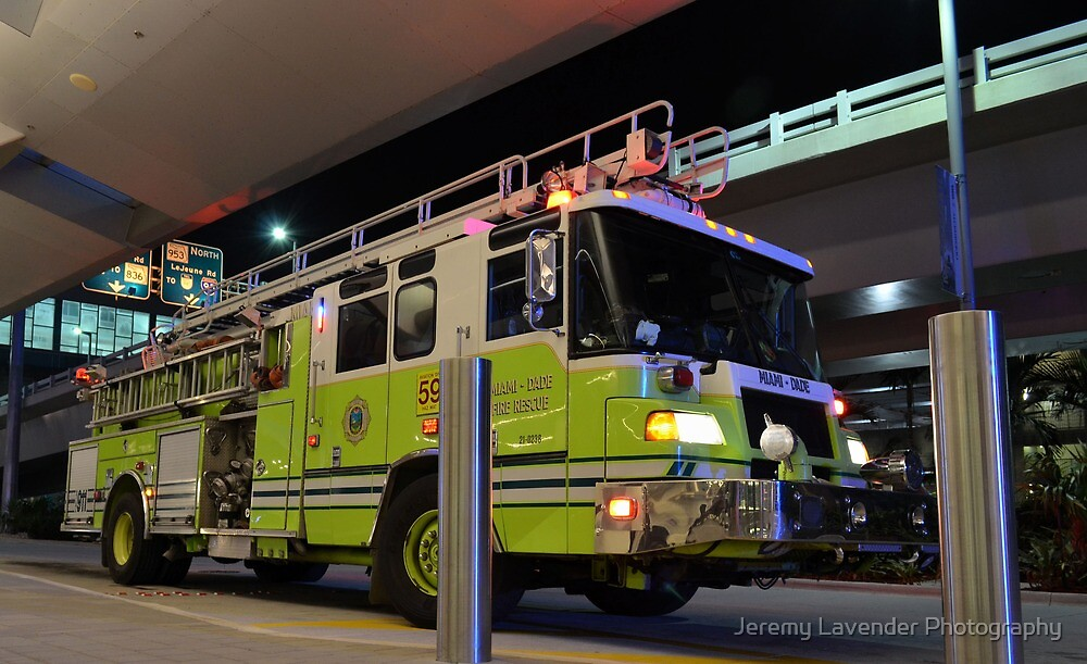 Miami Dade Fire Rescue Truck parked at MIA, Florida  by Jeremy Lavender Photography