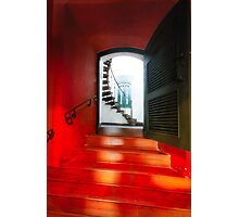 Red Doorway to a Spiral Staircase Photographic Print