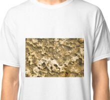 Top view of the natural background of yellow limestone Classic T-Shirt