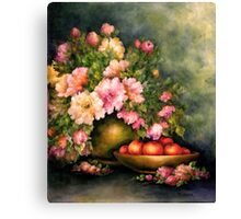 PEONIES AND ORANGES Canvas Print
