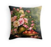 PEONIES AND ORANGES Throw Pillow