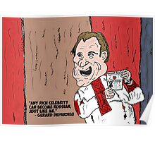 Gerard Depardieu caricature of a Russian celebrity Poster