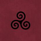 Teen Wolf Triple Spiral Triskelion Tattoo (Textured Maroon) by runswithwolves