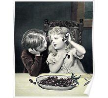"Vintage Victorian Print ""Cherry Earrings"" Poster"