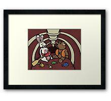 Teddy Bear And Bunny - Hard To Swallow Framed Print