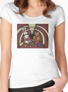Teddy Bear And Bunny - Hard To Swallow Women's Fitted Scoop T-Shirt