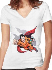 Hero at work Women's Fitted V-Neck T-Shirt