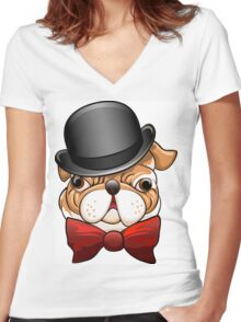 Bulldog in a bowler hat Women's Fitted V-Neck T-Shirt