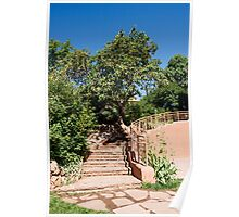 Stone Steps up Adobe Building Poster