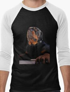 Regal and Proud Male Rottweiler Portrait Isolated Men's Baseball ¾ T-Shirt