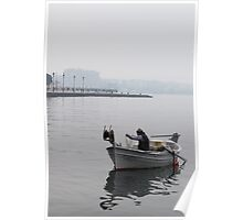 Fishing in the big city (Thessaloniki, Greece) Poster