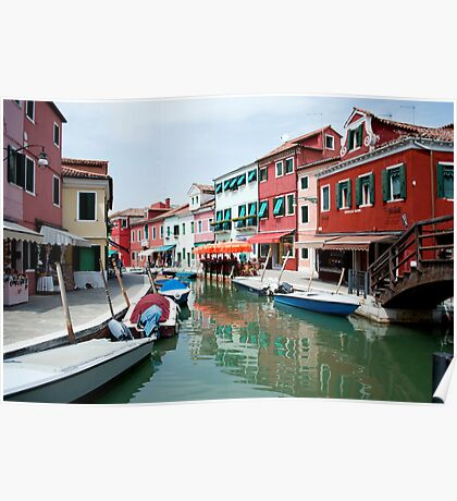 Venice, Burano island canal Poster