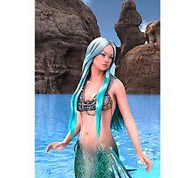 Fantasy Mermaid on Ocean Background Photographic Print
