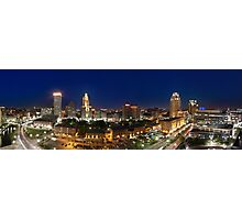 Panoramic view of Downtown Providence at Night Photographic Print