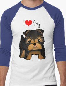 Cute Yorshire Terrier Puppy Dog Men's Baseball ¾ T-Shirt
