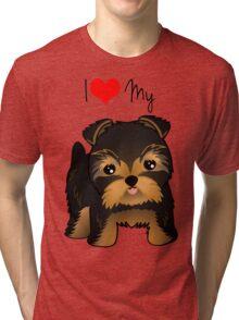 Cute Yorshire Terrier Puppy Dog Tri-blend T-Shirt