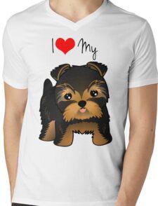 Cute Yorshire Terrier Puppy Dog Mens V-Neck T-Shirt